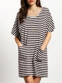 White Brown Striped Pockets Dress
