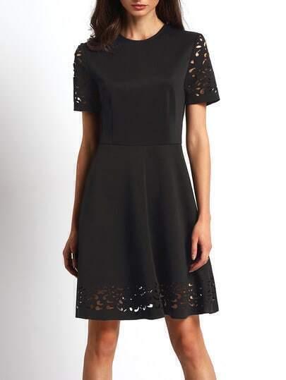 Black Half Sleeve Hollow Flare Dress