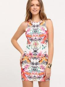 Multicolor Sleeveless Flower Floral Print Dress