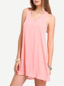 Pink Sleevelss V-neck Shift Dress