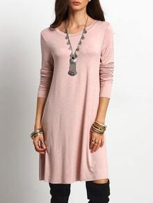 Pink Long Sleeve Open Back Casual Dresses