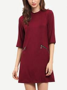 Wine Red Crew Neck Shift Dress