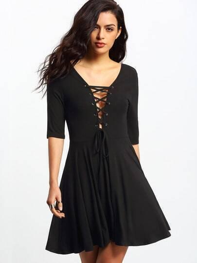 Black Lace-up Backlss Pleated Dress