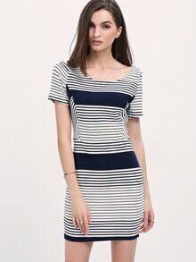 Black White Color Block Striped Bodycon Dress