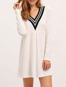 White V-neck shift Dress