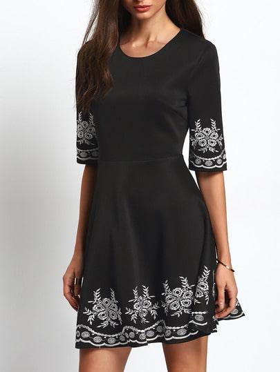 Black Half Sleeve Embroidered Flare Dress