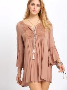 Brown V-neck Split Bell Sleeve Embroderied Dress
