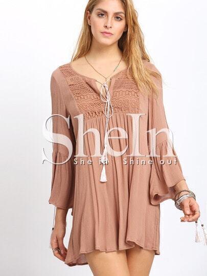 Brown V-neck Split Bell Sleeve Embroderied Dress