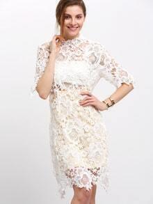 White Half Sleeve Concret Lace Dress
