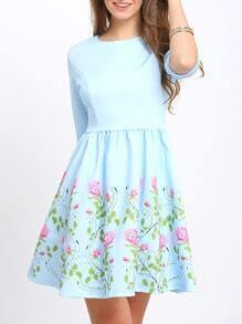 Light Blue Half Sleeve Flower Print Pleated Dress