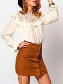 Beige Ruffle Collar Crochet Lace Front Blouse