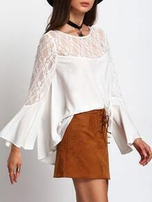 Beige Bell Sleeve Contrast Lace Blouse