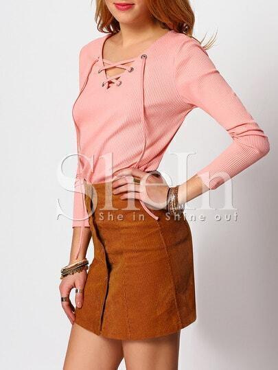 Pink V Neck Long Sleeve Lace Up T-shirt