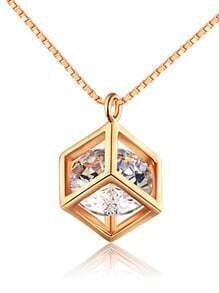 Gold Crystal Square Pendant Necklace