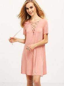 Pink Short Sleeve Lace Up Dress