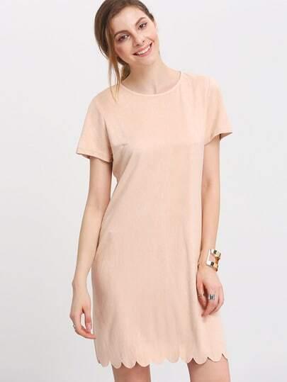 Light Nude Short Sleeve Lace Hem Shift Dress