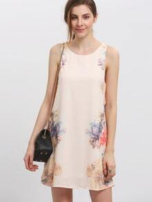Round Neck Sleeveless Elegant Floral Dress