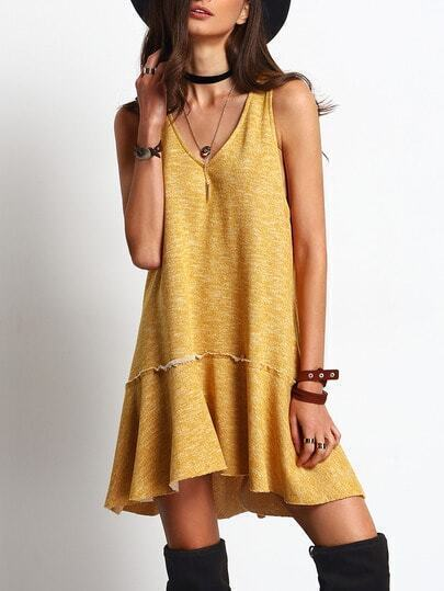 Yellow V Meck Sleeveless Swing Dress