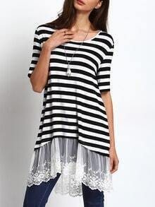 Black White Stripe Lace Hem Casual Dress