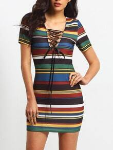 Multicolor Stripe Short Sleeve Lace Up Bodycon Dress