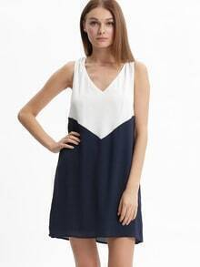 White Blue Color Block V Neck Sleeveless Dress
