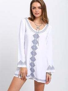 White Scoop Neck Long Sleeve Print Dress