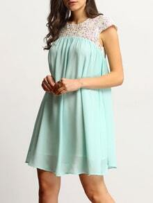 Mint Green Cap Sleeve Embroidery Splicing Swing Dress