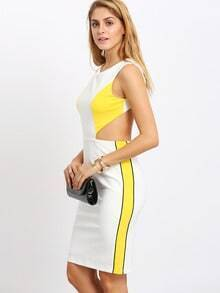 Beige Yellow Color Block Cut Out Back Sheath Dress