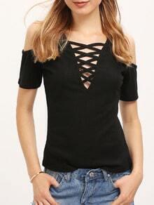 Black Off The Shoulder Lace Up T-shirt