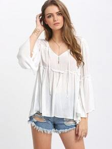 White Bell Sleeve Tie Neck Loose Blouse