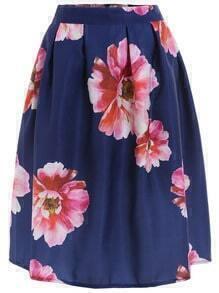 Blue High Waist Floral Midi Skirt