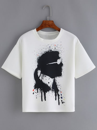 White Short Sleeve Portrait Print T-Shirt