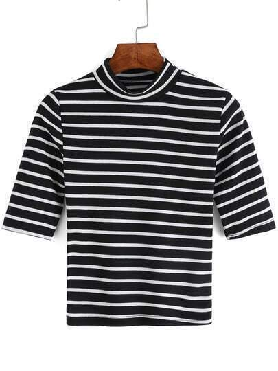 Black White Stand Collar Striped T-Shirt