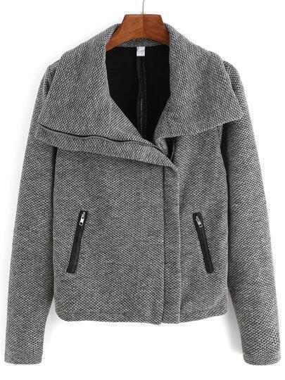 Grey Shawl Collar Zipper Pockets Coat