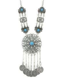 Blue Long Ethnic Necklace