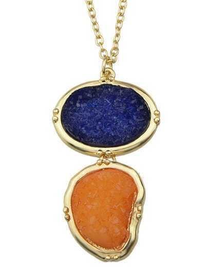 Blue Long Stone Pendant Necklace