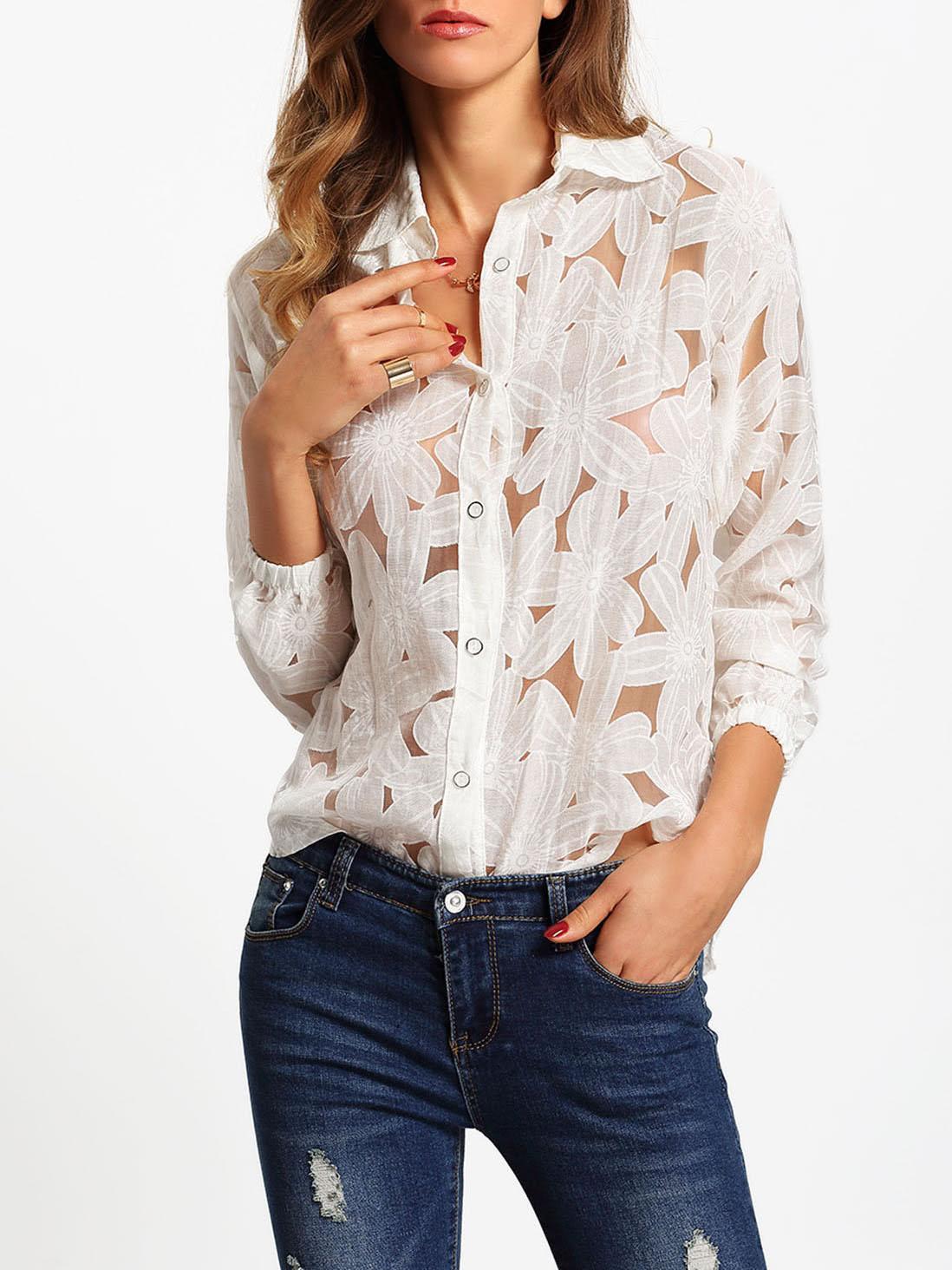 Flower Print Long Sleeve Sheer Blouse fishnet sheer long sleeve swimsuit