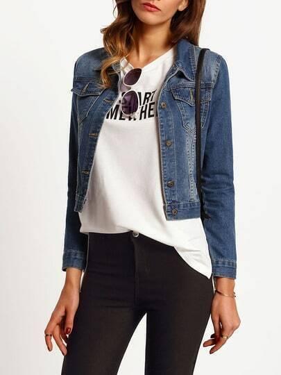 Blue Bleached Crop Denim Jacket