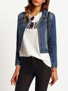 Blue Bleached Crop Denim Jacket