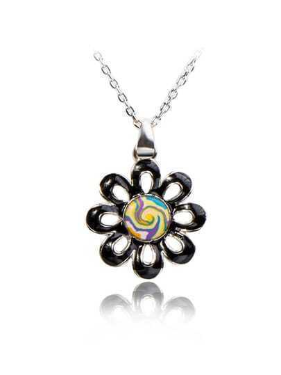 Oil Pattern Flower Pendant Necklace