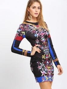 Black Challis Long Sleeve Flowery Floral Bodycon Dress