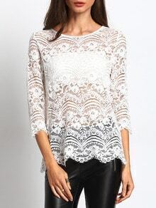 White Sheer Lace Round Neck Scallop Trim Button Back BLouse