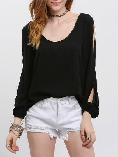 Black Cut-out Long Sleeve Scoop Neck Blouse pictures