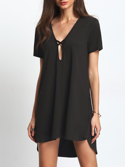 Keyhole Deep V Neck Dip Hem Dress
