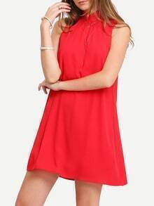 Red Stand Collar Self-tie Back Neck Chiffon Shift Dress