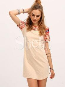 Apricot Tribal Print Yoke Sleeve Round Neck Shift Dress
