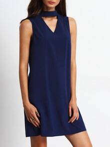 Royal Blue Keyhole Front Self-tie Back Shift Dress