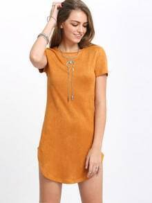 Lemon Yellow Short Sleeve Round Neck Dolphin Hem Sheath Dress