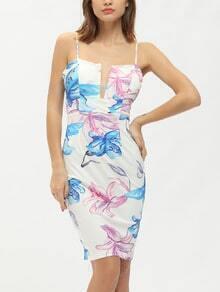 White Floral Print Spaghetti Strap Light V Neck Bodycon Dress