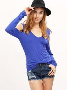 Blue V Neck Cut-out Long Sleeve Crisscross Back T-shirt